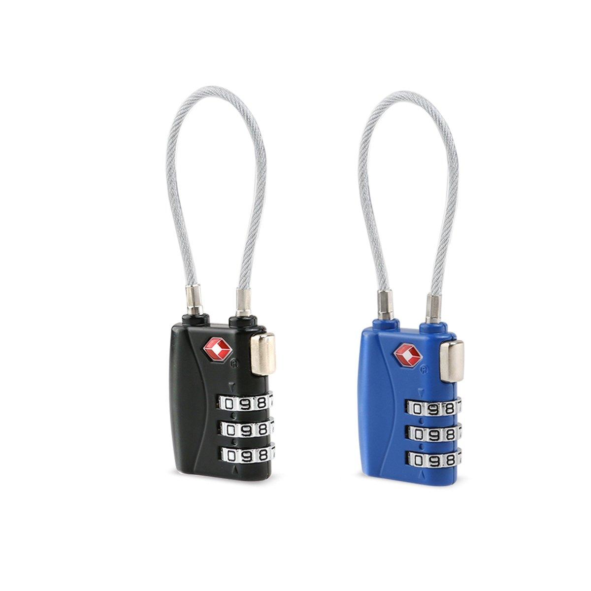 azul negro Tinksky 2pcs TSA aprobado cerraduras candados cerraduras cerradura de combinaci/ón de 3 d/ígitos equipaje de diferentes colores