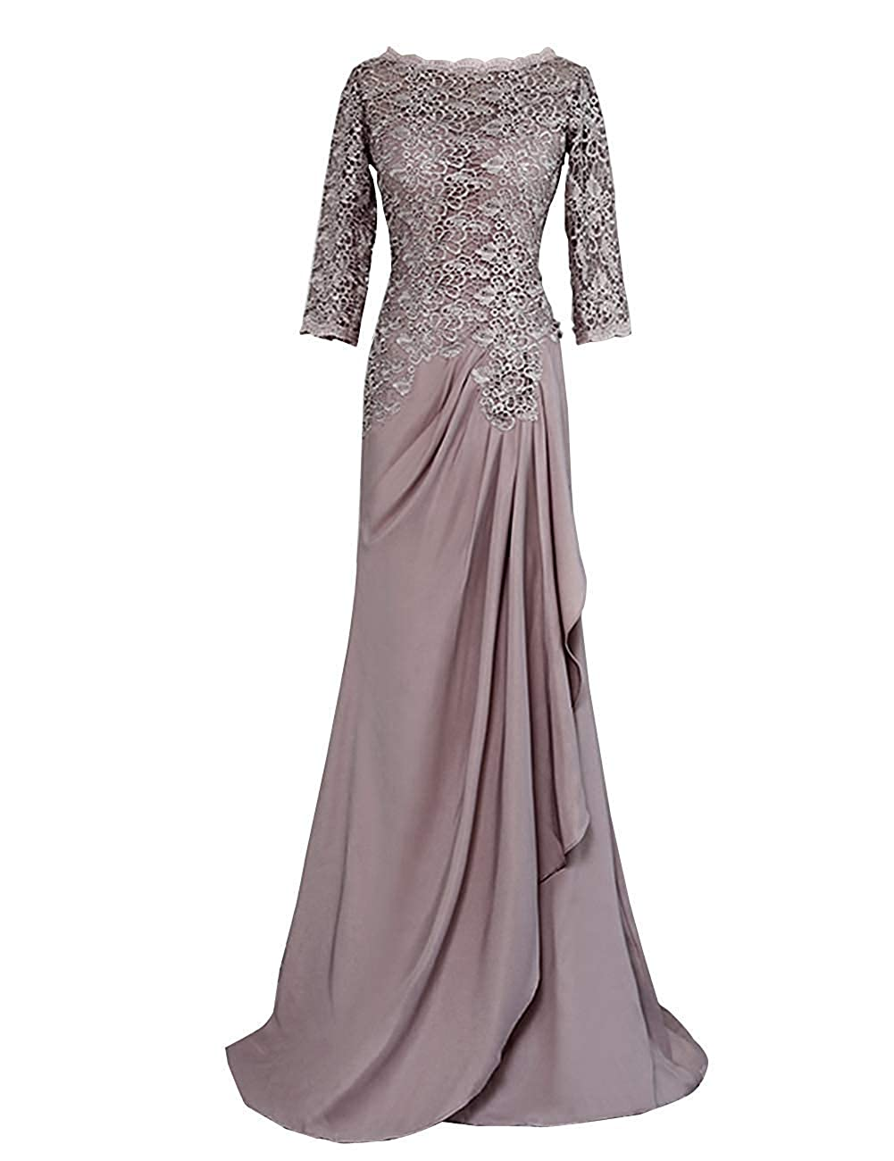 Mauve Mother of The Bride Dresses Long Sleeve Lace Evening Dress Formal Gowns Mother Gown