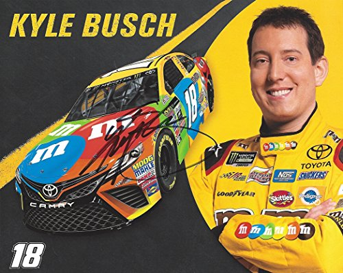 AUTOGRAPHED 2017 Kyle Busch #18 M&Ms Toyota Racing (Joe Gibbs Team) Monster Energy Cup Series Signed Collectible Picture 8X10 Inch NASCAR Hero Card Photo with COA