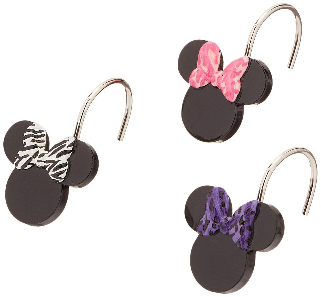 Disney Minnie Mouse XOXO Black/Pink/White Cotton Tufted Bath Rug JF07738E