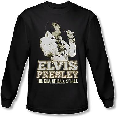 Elvis Presley - - Camisa de Manga Larga de Oro de los Hombres ...
