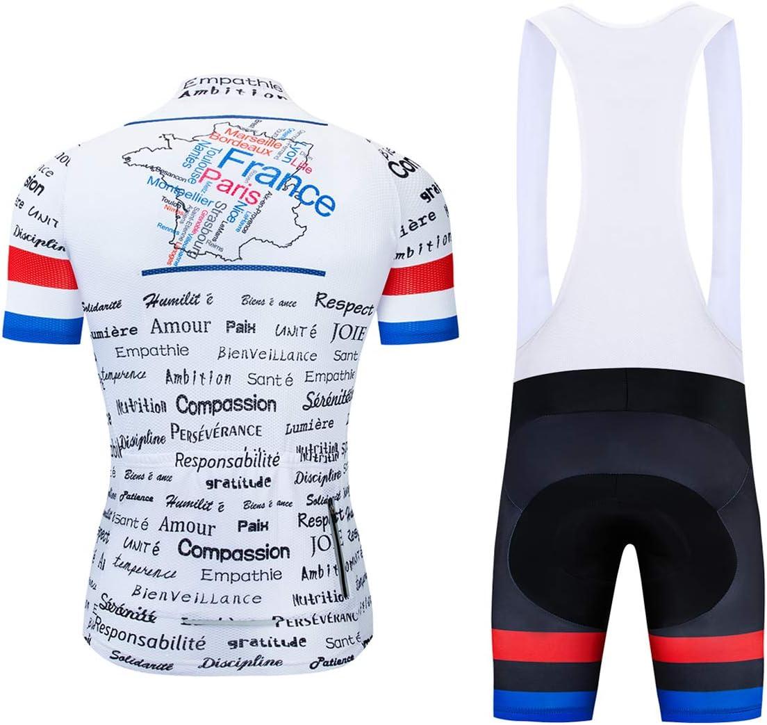 Conjunto de Camiseta de Ciclismo de Manga Corta y Pantalones Cortos Acolchados logas France