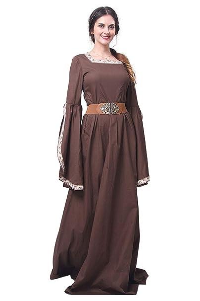 Mujeres Traje Medieval Renacentista Vintage Marron Corte ...