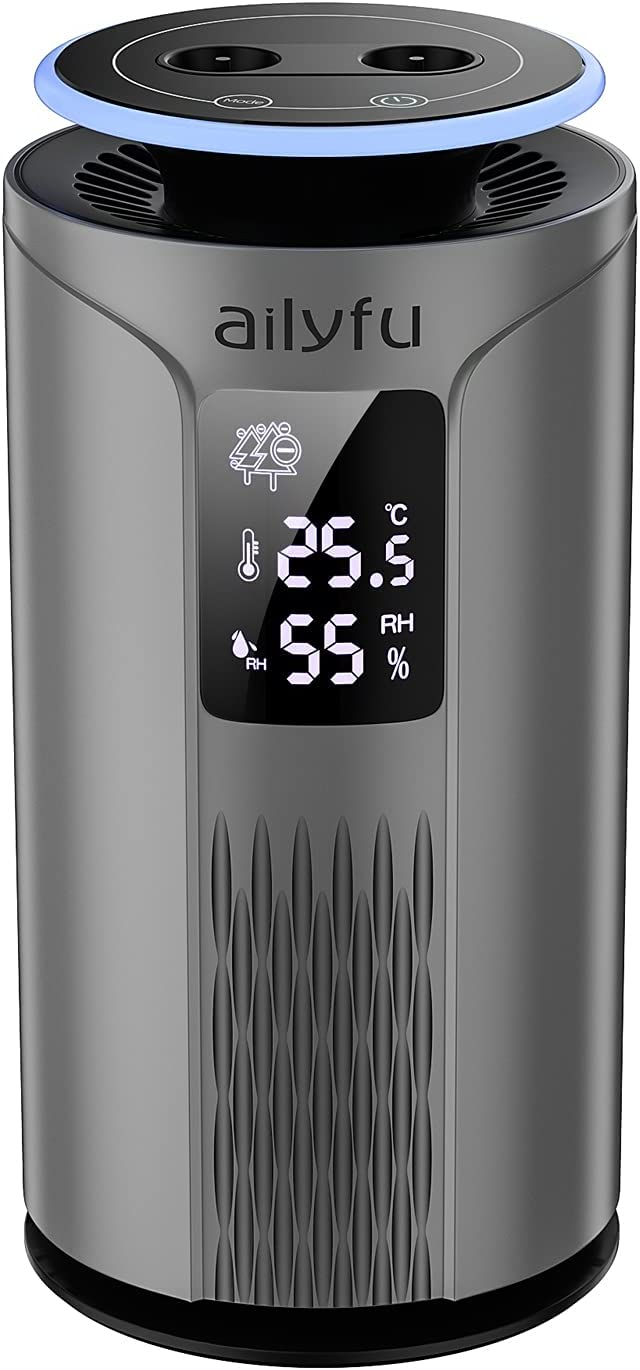 Air Purifier, ailyfu Negative Ion Air Purifier with LCD Display Temperature and Humidity, Filterless, Purified Smoke, Pollen, Dust, Odor for Bedroom Kid's Room Office Desktop Car