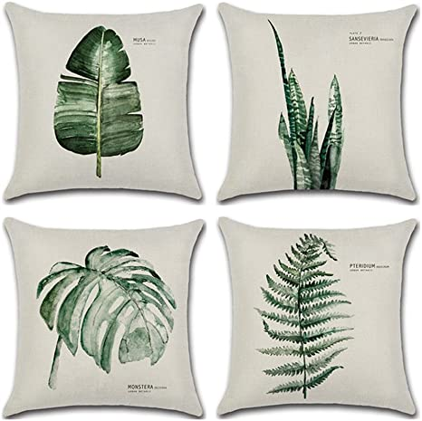 Amazon Com Aremetop Throw Pillow Covers Tropical Green Leaf Plant Dercorative Cotton Linen Throw Pillow Case Cushion Cover Protector 18 X 18 Inches For Home Sofa Couch Set Of 4 4 Pack Green Fern