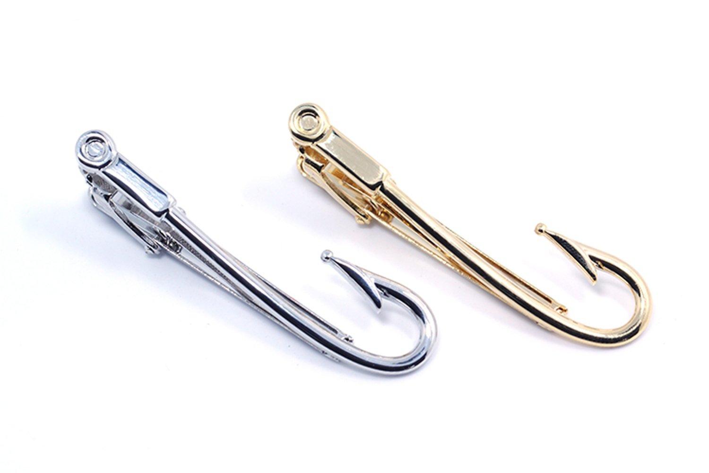 ZUNON Fishing Hooks Tie Clips Bar Tacks Mens Silver Golden Tone Leisure Fishermen Sportsmen Fathers Dad Husband Activities