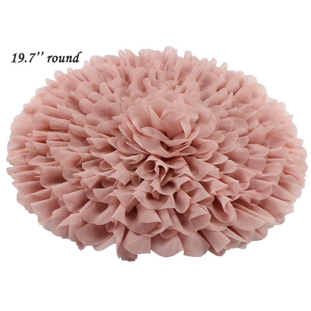 Handcraft Soft Chiffon Round Flower Blanket Newborn Photography Props by D&J DON&JUDY