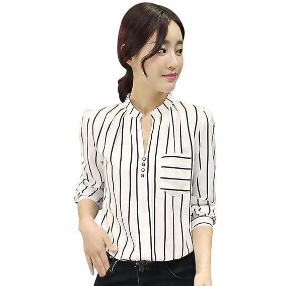 Covermason Mujer Ropa Botón de la Camisa Mujer, Blusa a Rayas de Manga Larga para