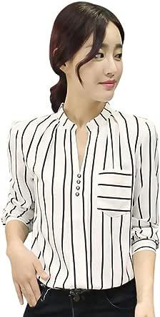 Botón de la Camisa Mujer, Blusa a Rayas de Manga Larga ...