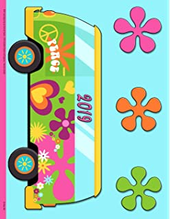 1960 Style Hippie Van and Groovy Flowers: 2019 Schedule Planner and Organizer / Weekly Calendar