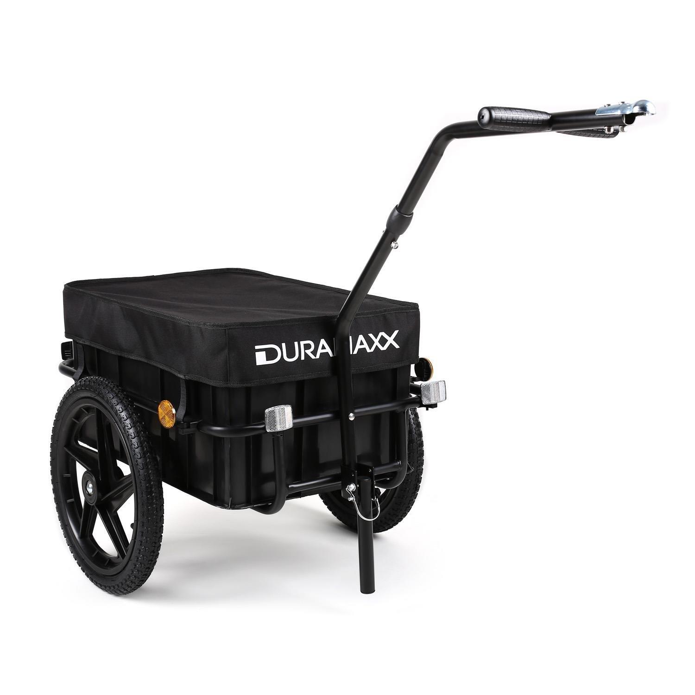 DURAMAXX Big-Mike • Fahrradanhänger • Lastenanhänger • Handwagen • mit Hochdeichsel • Transportbox mit 70 Liter Volumen • Tragkraft  max. 40 kg • Kugel-Kupplung für