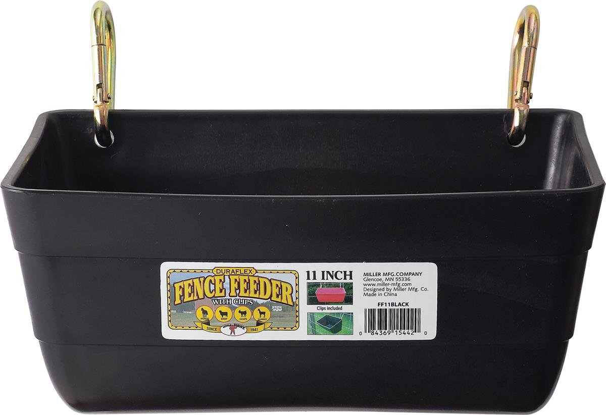 Little Giant Fence Feeder with Clips, 11-Inch, Black