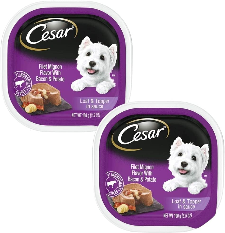 Soft Wet Dog Food Classic Loaf in Sauce Porter House Steak Flavor, Easy Peel Trays, 3.5 OZ Per Pack, (Pack of 2)