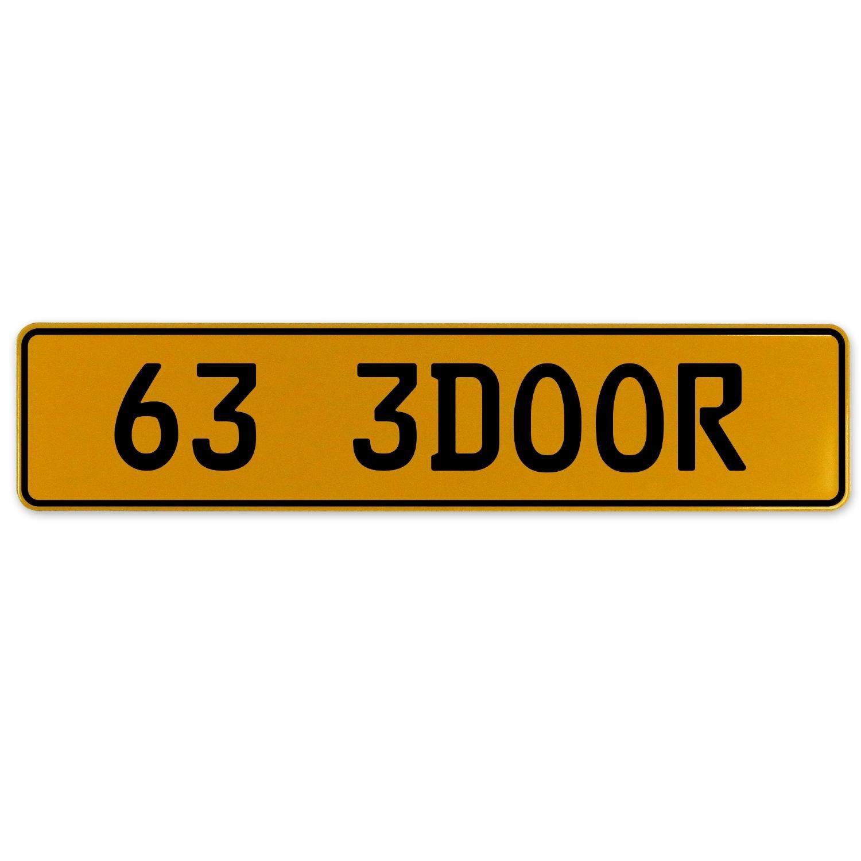 Vintage Parts 563076 63 3DOOR Yellow Stamped Aluminum European Plate
