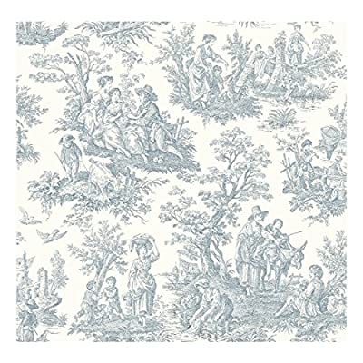 York Wallcoverings WA7830 Waverly Classics Country Life Wallpaper, White/Blue - Ultra Removable