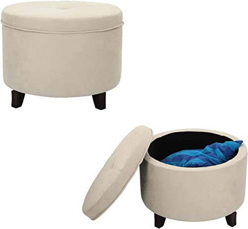 Homebeez , Button Tufted Footstool with Removable Lid Wood Legs Round Fabric Footrest Storage Ottoman, Small, Creamy White