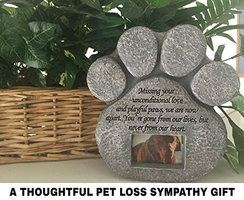 Garden Backyard Paw Print Picture Frame Pet Dog Cat Memorial Stone Monument New
