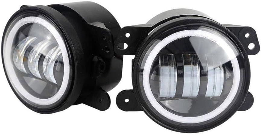 Lzcat 4 Zoll 60w 6000lm Led Nebelscheinwerfer Lampen 2 Stücke Kit Mit Halo Weiß Drl Bernstein Blinker Schwarz Auto