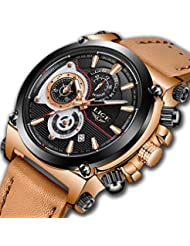 Watches for Men,LIGE Mens Chronograph Waterproof Sports Analog Quartz Watch Gents Brown Leather Strap Date Display...