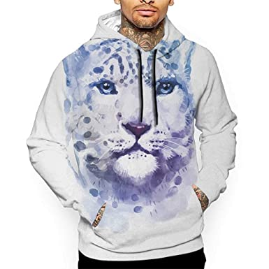2d6de35d9eb8 Hoodies Sweatshirt Men 3D Print Animal,Big Wild Cats Themed Print  Watercolor Style Leopard Illustration