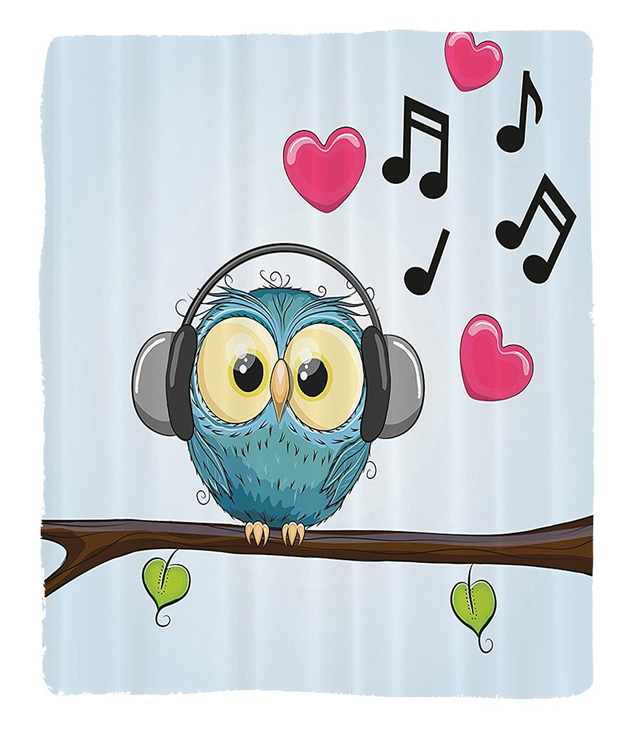 Chaoran 1 Fleece Blanket on Amazon Super Silky Soft All Season Super Plush Music Decor Collection Cute Cartoon Owl with Headphones Hearts Leaves Fashion Playful Jolly Fun Image Fabric et Pink by chaoran
