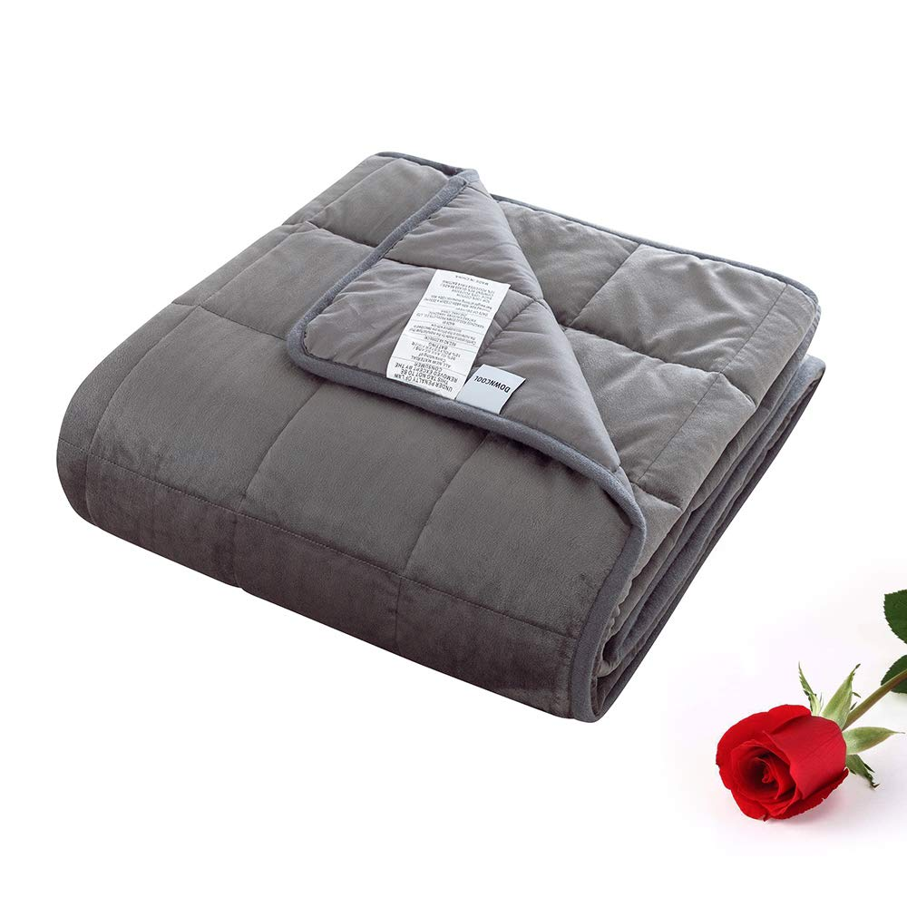 DOWNCOOL Original Weighted Blanket 100% Cotton Top - More Smaller Pockets Reversible Heavy Blankets with Glass Beads for Kid (Dark Grey,36x48Inch,5Lbs)