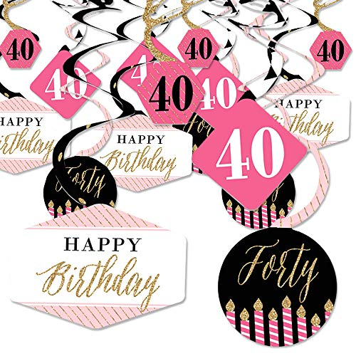 Chic 40th Birthday - Pink, Black and Gold - Birthday Party Hanging Decor - Party Decoration Swirls - Set of