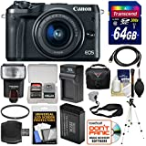 Canon EOS M6 Wi-Fi Digital ILC Camera & EF-M 15-45mm is STM Lens (Black) + 64GB Card + Case + Flash + Battery & Charger + Tripod + Filter + Strap Kit