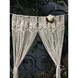 "RISEON Butterfly Macrame Wall Hanging Tapestry- Macrame Door Hanging,Room divider,macrame Curtains,Window Curtain, door curtains, wedding Backdrop BOHO wall decor, 30""W x 75""L (without bar)"