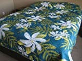 Queen Size Hawaiian Quilted Quilt Bedding Comforter & 2 Pillow Shams teal