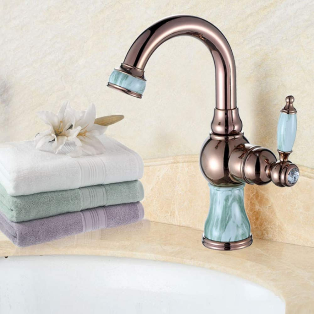 Lddpl Marble Bathroom Sink Faucet Hot and Cold Basin Jade Taps Full Copper golden Lavatory Faucet Marble Stone gold Basin Retro