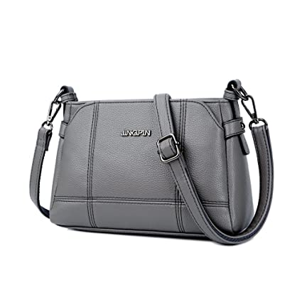 b058289486c4 Buy Cyanb Fashion small soft leather satchel purse multi-pocket shoulder bag  Triple Compartments crossbody bag for women grey Online at Low Prices in  India ...