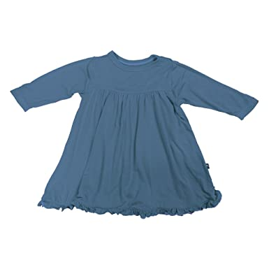 e4bb05bd6094b KicKee Pants Little Girl Long Sleeve Swing Dress, Twilight Blue, 0- 3 Months