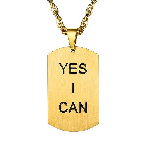 PROSTEEL Collar Frase de Ánimo Colgante de Acero Inoxidable con Cadena Cadena Fina cregalo para Hombre Mujer: Amazon.es: Joyería