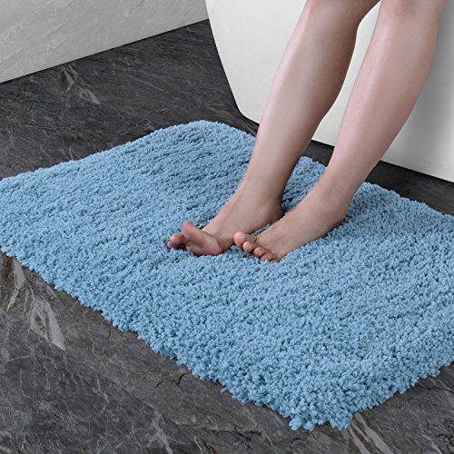 NORCHO Anti Slip Rubber Back Bathroom Antibacterial Rug Soft Water Absorbent Luxury Bathroom Door Mat 31x19 Blue