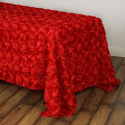 BalsaCircle 90x132 Red Satin Raised Rosettes Rectangle Tablecloth Wedding Party Dining Room Table Linens