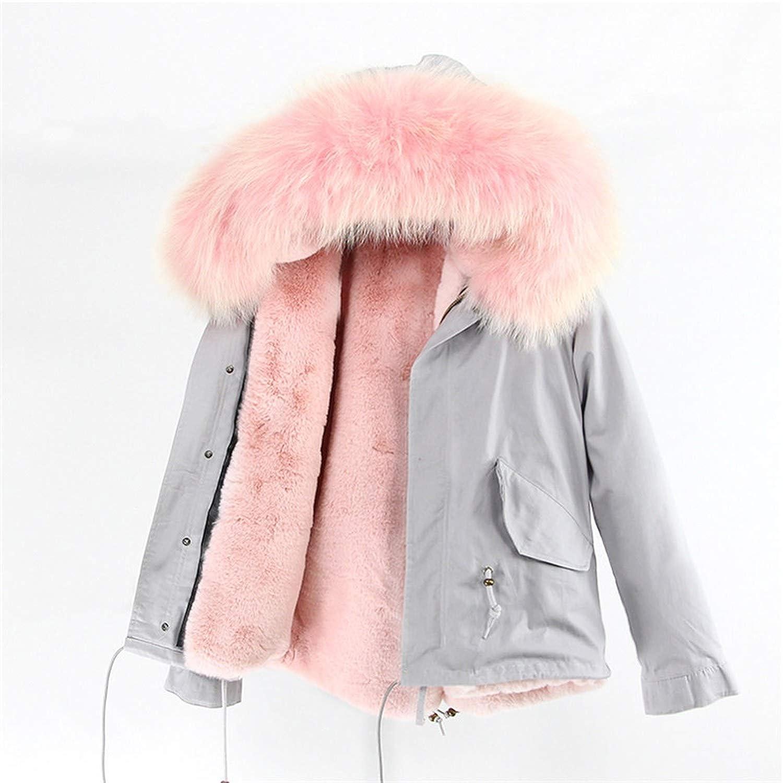 30 EnjoySexy Parka Winter Jacket Coat Women Natural Raccoon Fur Collar Hooded Warm Soft Faux Fur Liner