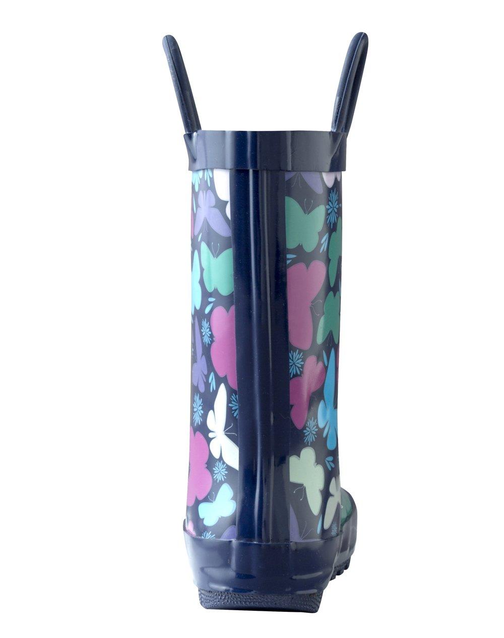 Oakiwear Kids Rubber Rain Boots with Easy-On Handles, Butterflies, 12T US Toddler