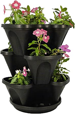 Black 3-Tier Stacking Planter product image