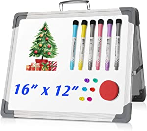 """UKON Dry Erase Board 16""""X 12"""" Double Sided Whiteboard Portable Hanging Easel Hold in Hand for Home, School, Office Supplies, Drawing, Kitchen Grocery List, Cubicle Memo Board"""