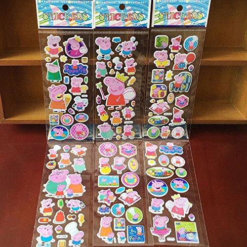 By channeltoys - Lot de 3pcs Stickers/Autocollants aléatoires Famille cochon (Maman,Papa,Frère,soeur) Peppa - Stickers décoratifs cahier maison mur - Neuf
