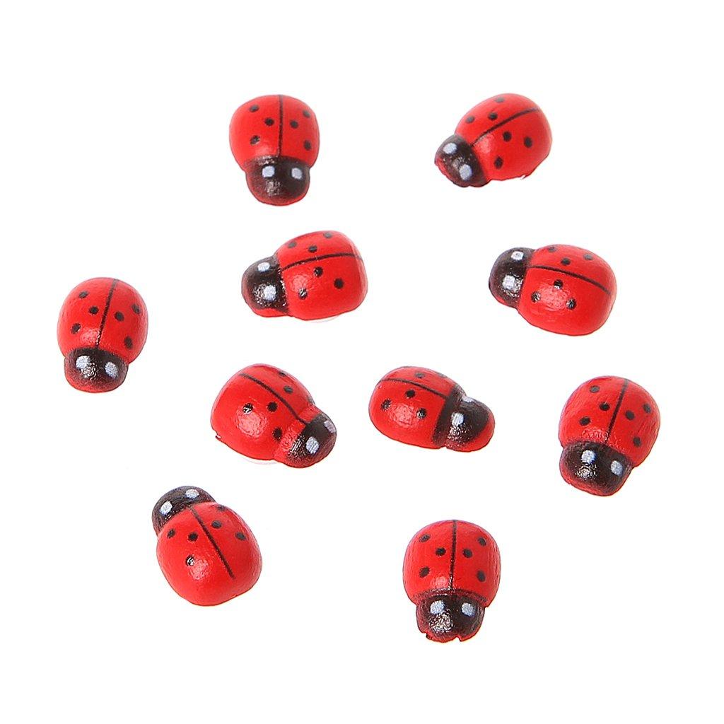 Guoyy 10er Mini Coccinella Red Beetle Coccinella Fata Casa Delle Bambole da giardino decorazione ornamento