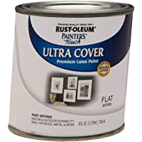 Rust-Oleum 1990730 Painter's Touch Latex Exterior Color, Half Pint, Flat White - 3