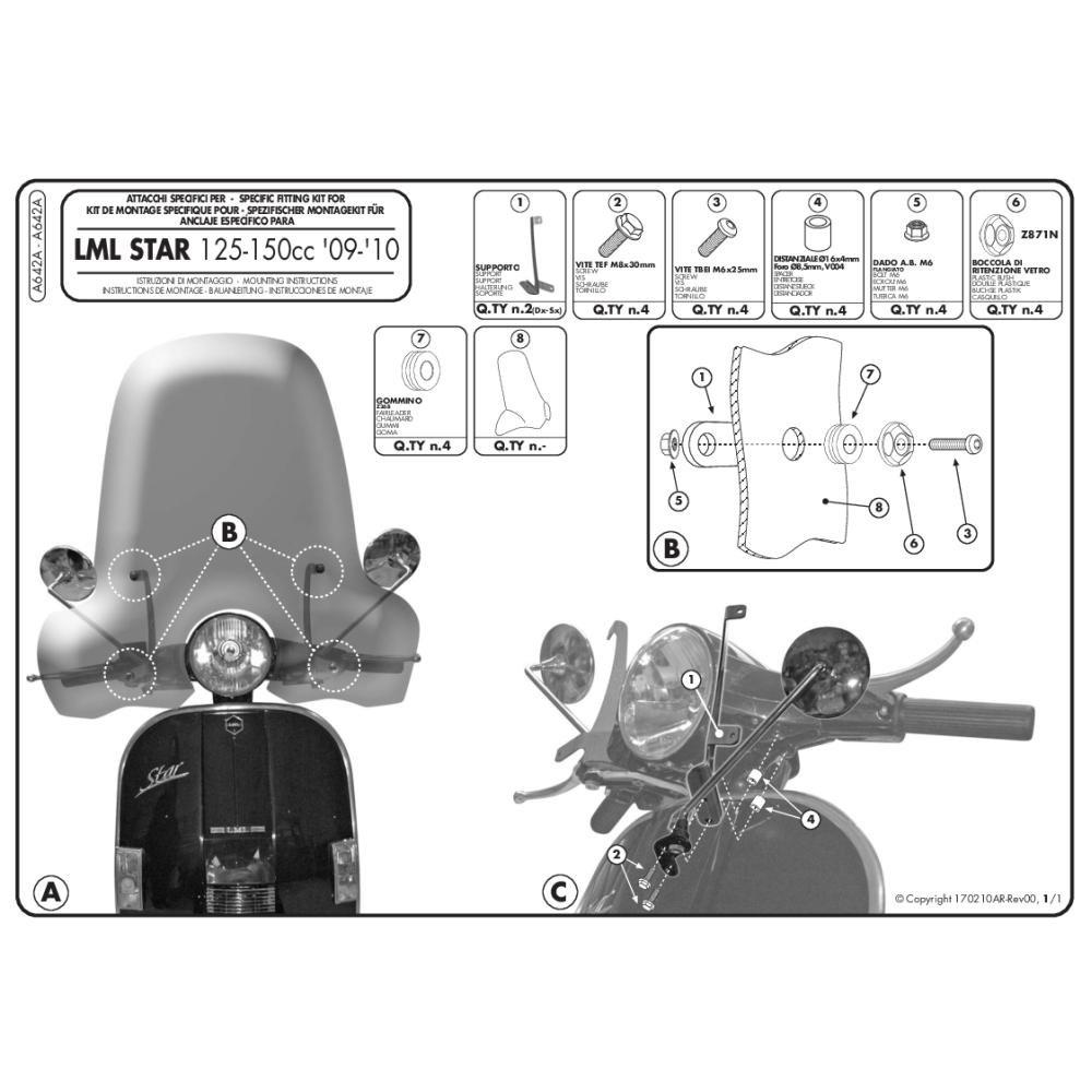 GIVI A642A Kit di attacchi specifico per 642A per LML STAR 125 - 150 ( 09 > 11 )