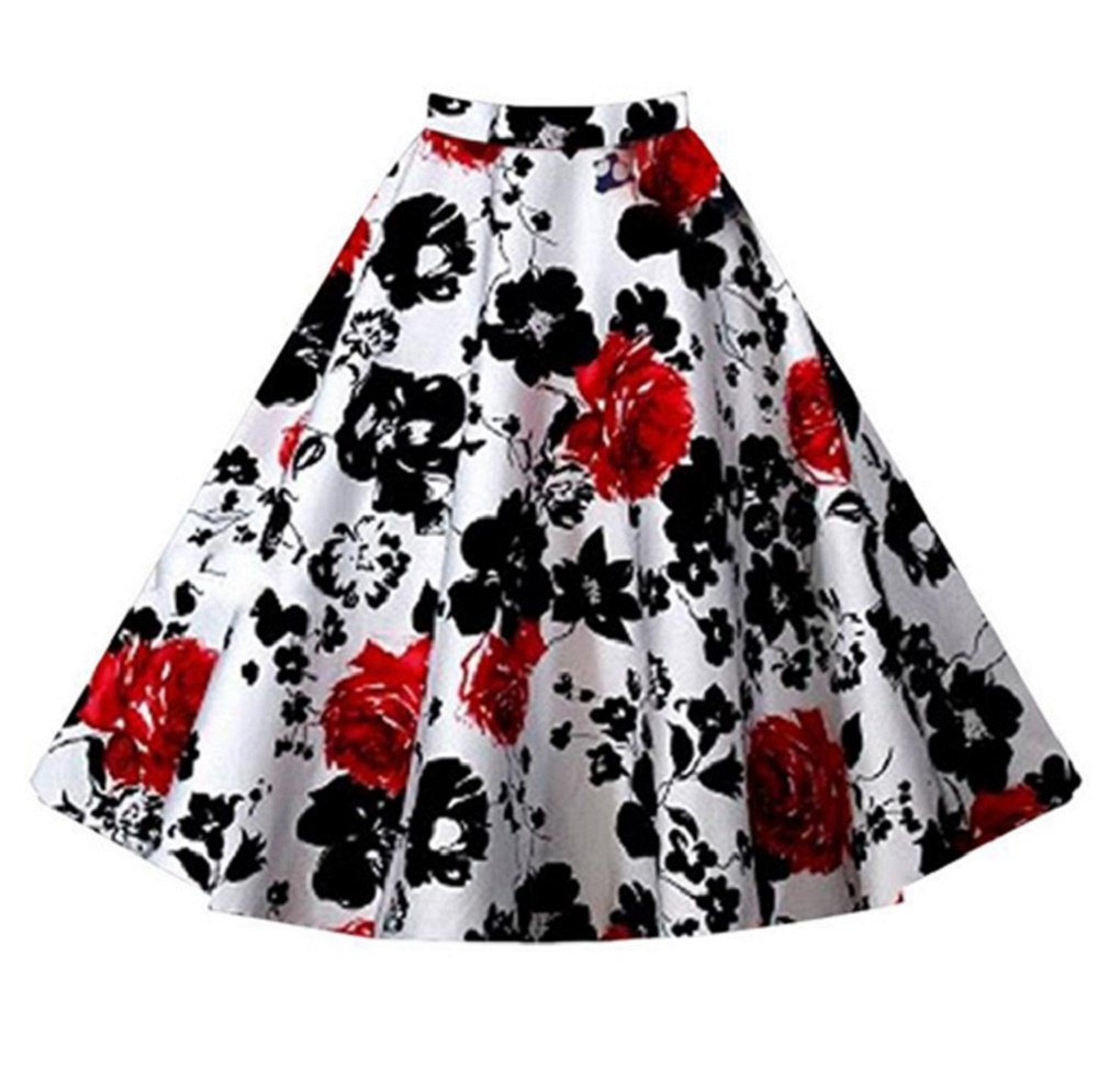 Fendxxxl Women's Plus Size A-line 50's Pleated Floral Print Flared Midi Swing Skirts F20-1202 Redflower L