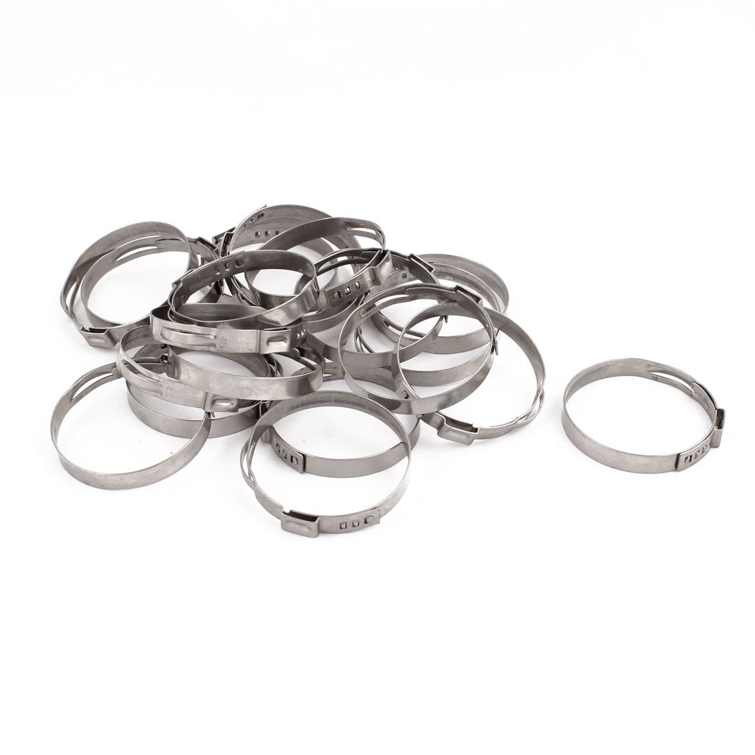 uxcell 41.8mm-45mm 304 Stainless Steel Adjustable Tube Hose Clamps Silver Tone 20pcs