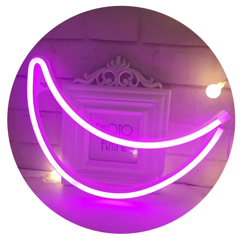 Neon Light,LED Moon Sign Shaped Decor Light,Wall Decor for Chistmas,Birthday party,Kids Room, Living Room, Wedding Party Decor (Purple pink)