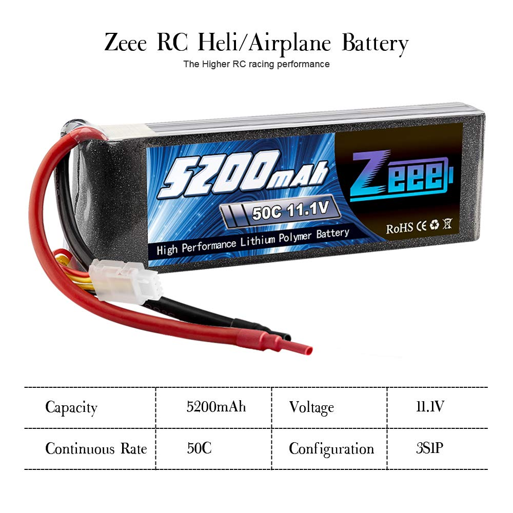Zeee 5200mAh 50C 11.1V 3S RC Lipo Battery with (XT60 and Deans Connector) for RC Plane, DJI Quadcopter,RC Airplane, RC Helicopter, RC Car/Truck, RC Boat(Short) by Zeee (Image #3)