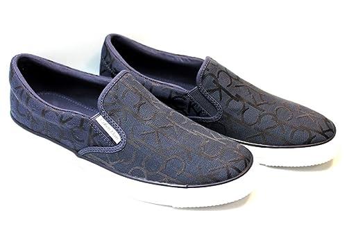 Calvin Klein Acton SE8557 - Mocasines de tela de esitlo casual para hombre, color azul y blanco Blanco Size: 44 EU: Amazon.es: Zapatos y complementos