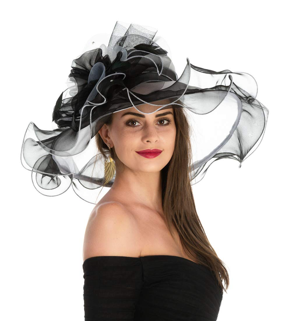 Women's Organza Church Kentucky Derby British Fascinator Bridal Tea Party Wedding Hat Summer Ruffles Cap(F1-Black White Flower)